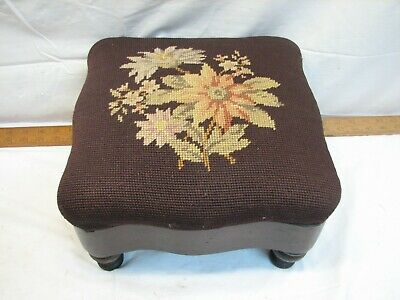 Wooden Foot Stool Needlepoint Embroidery Cover Footstool Rest Poinsettia Flower