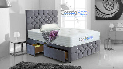 "6Ft Super-King Chesterfield Ibex Plus Extra Divan Bed With Luxury 54"" Headboard"