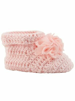 Baby Deer Girls Pink Crochet Shimmer Chiffon Flowers Cuffed Booties 0 Baby