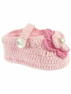 Baby Deer Girls Pink Flower Accented Soft Sole Crochet Booties 0 Baby