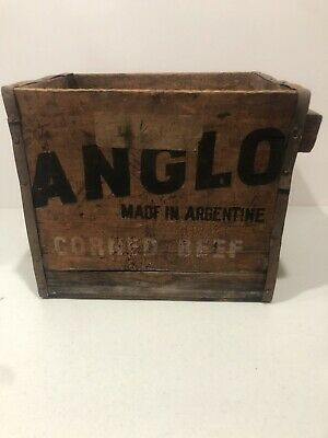 VINTAGE ANGLO Roast Beef MADE IN ARGENTINE WOODEN SHIPPING CRATE