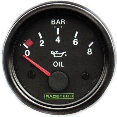Racetech Oil Pressure Gauge 52mm - Electrical Black Dial Face