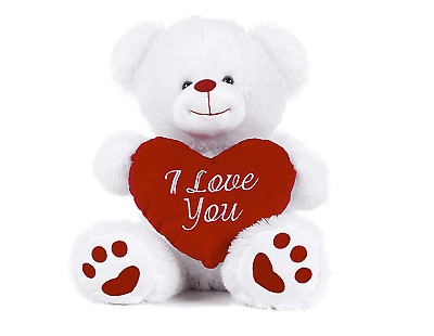 """White Teddy Bear holding Red Heart with """"I Love You"""" written on it White, 8"""""""