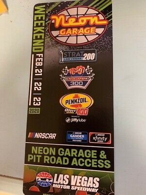 Las Vegas motor speedway neon garage passes-pass is for the ENTIRE WEEKEND!
