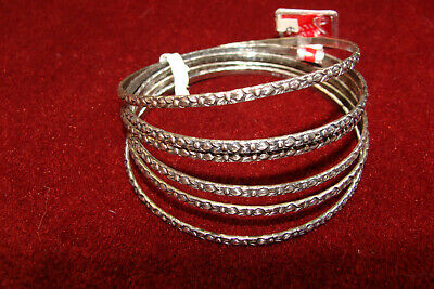 Lot of 6 Sterling Silver 925 Floral Baby Bracelets 2-1/8 inches wide, 23.2 grams