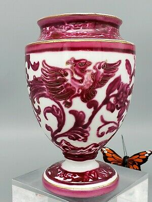 Antique MOORE Brothers Urn Vase Mulberry Pink Phoenix Signed JOYCE