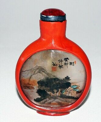 Chinese Reverse Painted Glass Snuffbottle w Red Lacquer Finish signed (SRi)