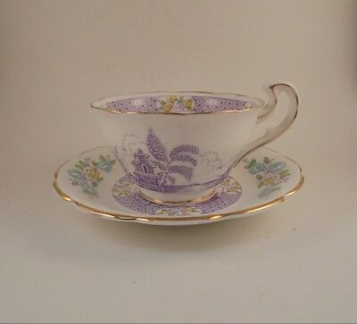 Spencer Stevenson Footed Cup & Saucer Pagoda Pattern W/Tree & Flowers Bone China