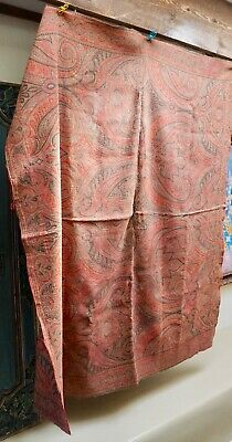 "Antique Hand Loomed Wool Paisley Coverlet Shawl Table Cloth 64"" Shabbily Chic"