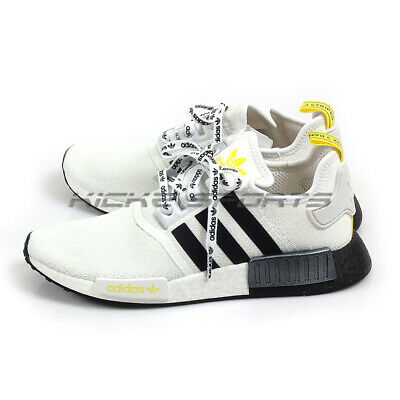 Adidas NMD_R1 White/Black/Bright Yellow Originals Casual Shoes Sneakers FV2549