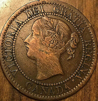1859 CANADA LARGE CENT LARGE 1 CENT PENNY COIN - Low 9