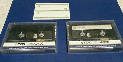 2 x TDK AD-X90 Audio Tape Cassettes Made in Japan.  Vintage rare