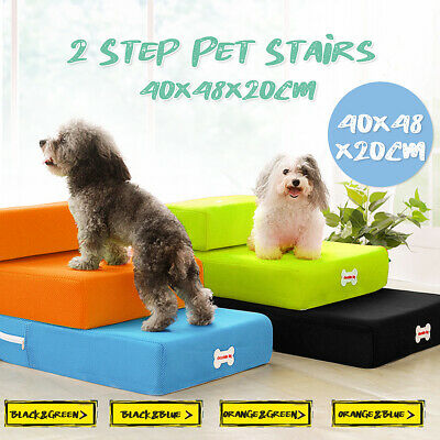 Folding Portable 2 Steps Dog Cat Pet Stair Ramp Ladder Sofa Bed Foam Couch Cover