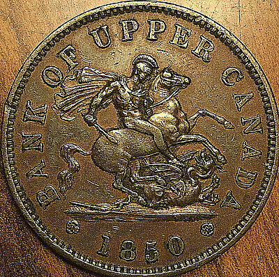 1850 UPPER CANADA DRAGONSLAYER PENNY TOKEN - Dot variety - Very nice example!