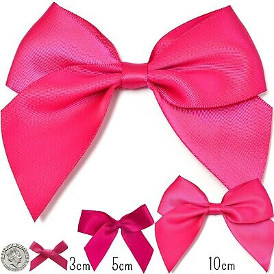 Small- Large HOT FLAMINGO PINK CERISE Craft Satin Bow Ribbon Present Party 3-5cm