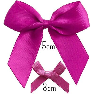 POPPING PINK RIBBON BOW Clover Small To Large Pre-Tied Cake Craft Gift DIY 3-5cm