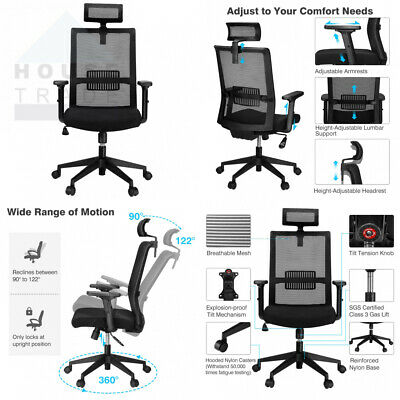 SLYPNOS Office Chair, Ergonomic High-Back Mesh Executive Chairs Black-2