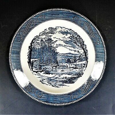 """Royal (USA) Currier & Ives Blue 11-Inch Round Platter/Chop Plate, """"Getting Ice"""""""