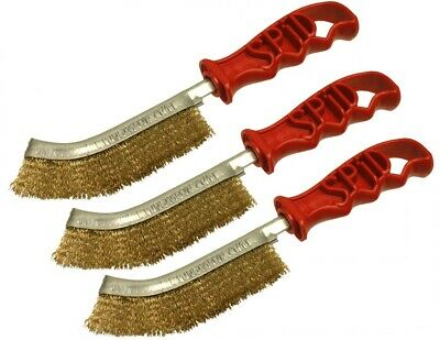 3 x Genuine Spid Steel (Brass Plated) Wire Brushes with Plastic Handles