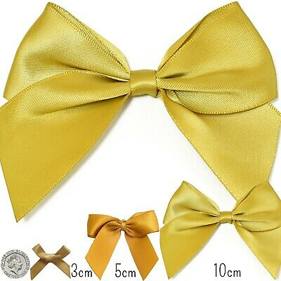 Small-Large LUSTROUS GOLD SATIN RIBBON BOW Ready Made Pre-Tied Craft 3-5cm Wide