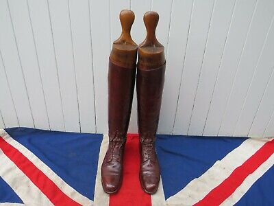 Fine English Country Antique Vintage Brown Laced Riding Boots With Wooden Trees