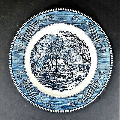 """Royal (USA) Currier and Ives Blue THE OLD GRIST MILL 10"""" Dinner Plate"""