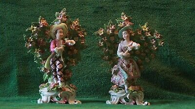 """Outstanding Antique Porcelain Pair  Of Bow 9 1/4"""" Tall Figurines"""