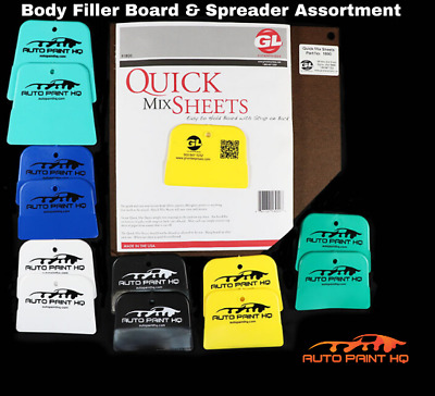 Auto Body Filler Mixing Board (100 Sheets) and Spreader Assortment, Made in USA