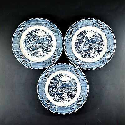 """Royal Currier and Ives Blue HARVEST 6"""" Bread and Butter Plates (Set of 3)"""