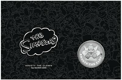THE SIMPSONS KRUSTY THE CLOWN 1oz Silver Coin BU in card Tuvalu 2020 licensed