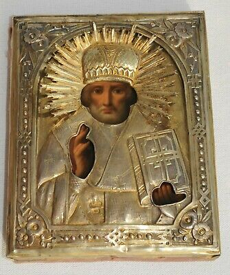 """1880y. RUSSIAN ROYAL IMPERIAL 84"""" SILVER GOLD OKLAD ICON BISHOP NICHLAS PAINTING"""