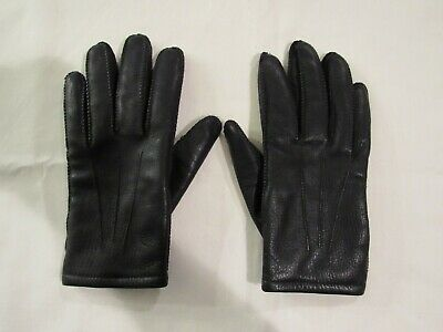 FOWNES  Womens Black Leather Driving Gloves~Fleece Lined~Size Large  Excellent!
