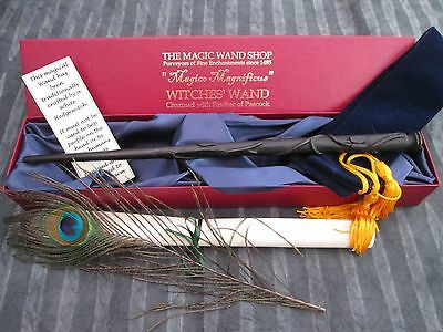 BLACK Wooden Magic Wand wizard/witch Peacock feather wiccan Spells Happy Potter