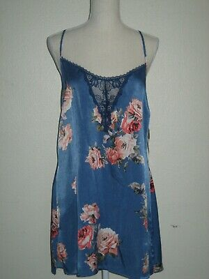 New In Bloom by Jonquil Floral Print Lace Trim Racerback Chemise L Dusk Blue NWT