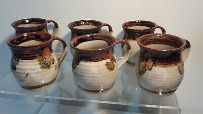Set Of 6 Gembrook Pottery Mugs - Rare Find