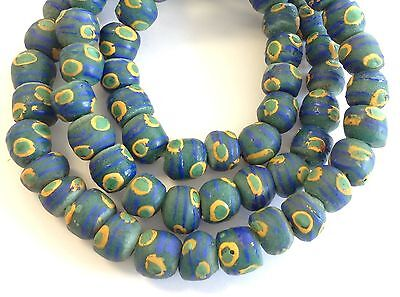 Amazing Fancy Green Teal Eye Krobo Recycled Glass African Trade Beads-Ghana