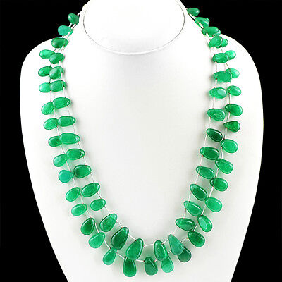 SUPERB 500.00 CTS EARTH MINED RICH GREEN EMERALD OVAL BEADS NECKLACE STRAND