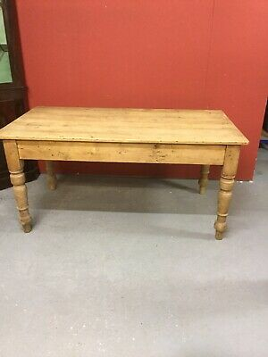 Antique Solid Stripped Pine Farmhouse Kitchen Table 5' Table Sn-556b