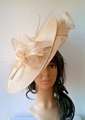Nude Sinamay Hatinator.hat.Large saucer disc Wedding.races.