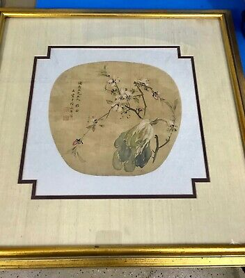 Antique Chinese hand painted on silk woven paper signed for hand fan w/ frame