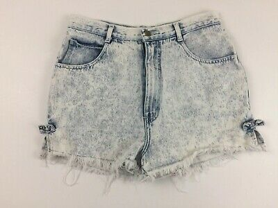 Vintage Stefano Women's 14 Acid Washed Denim Shorts Fringe 80s 90s