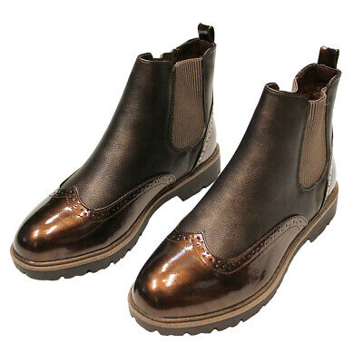 Womens Ankle Brogue Brown Boots Ladies Chelsea Slip On Fashion Shoes Casual