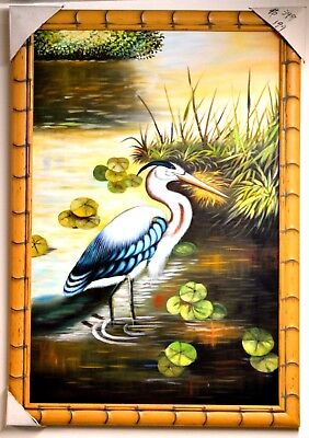 """PELICAN bird in lily pond 36"""" CANVAS FRAMED OIL PAINTING HOME DECOR ART GIFT M94"""