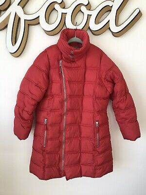 Next Girls Red Long Puffer Jacket With Packaway Hood Age 9-10 Years