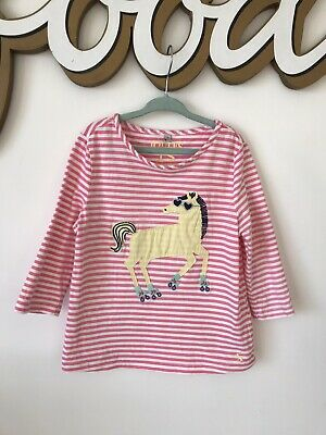Joules Kids Girls Long Tshirt Pink White Horse Applique Age 7-8 Years