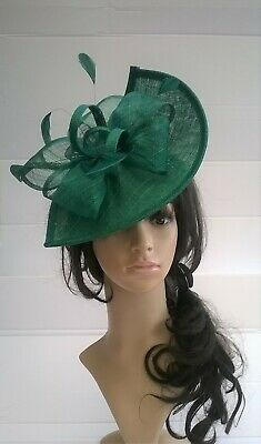 Emerald Green Fascinator shaped sinamay with Bow loops & feathers ,Wedding.races
