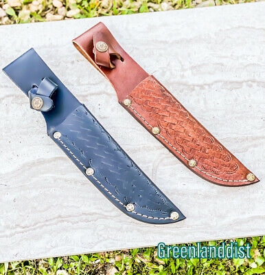 """10"""" Handmade Real Leather Sheath For Fixed Hunting Blade Knife Engraved /Belt Lo"""