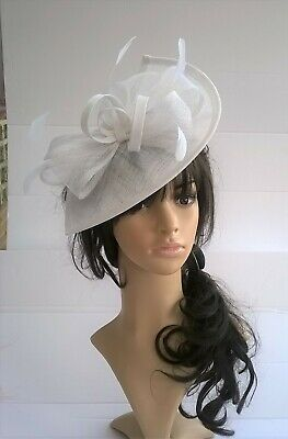 White Fascinator shaped sinamay with Bow loops & feathers Wedding