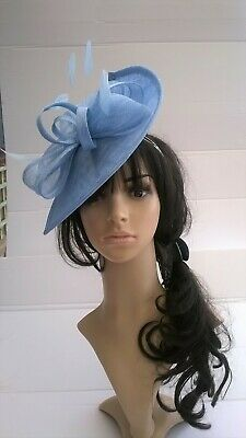 Powder Blue Fascinator shaped sinamay with Bow loops & feathers Wedding