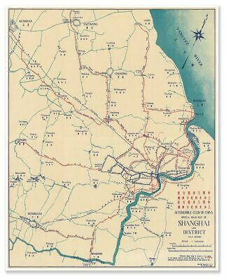 Automobile Club of China - City of Shanghai Chinese Road/Street Map circa 1936